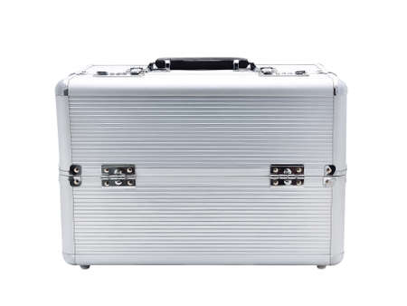 Silver aluminum box for storage of cosmetics Stock Photo