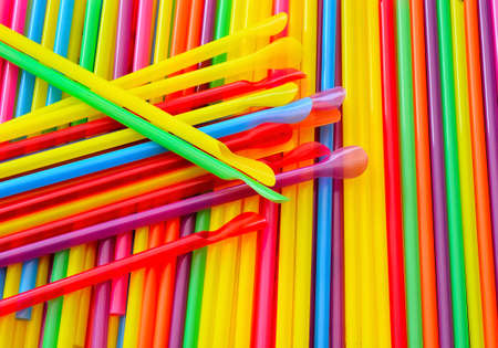 Colorful background from drinking straws