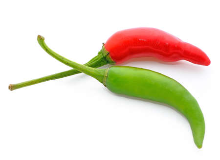 Red and green chili pepper isolated on white background