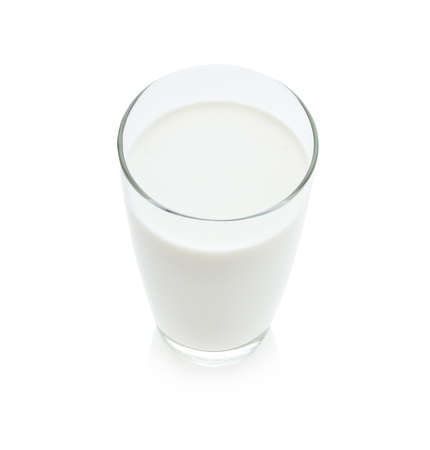 pasteurized: glass of milk isolated on white