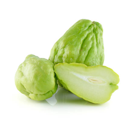 chayote: Chayote Squash And A Half On White Background