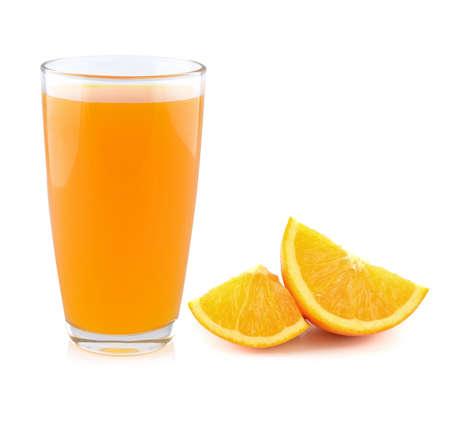 Vollst�ndige Glas Orangensaft auf wei�em Hintergrund Lizenzfreie Bilder