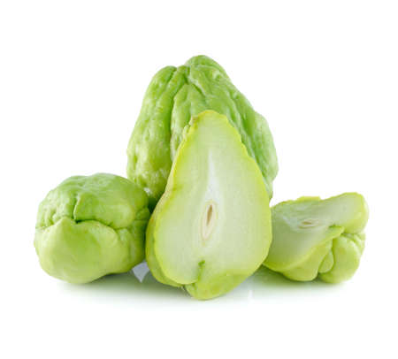 asian pear: Chayote Squash And A Half On White Background
