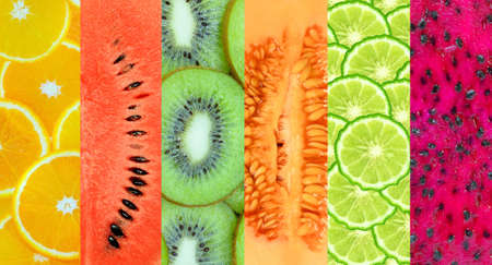 melons,kiwi,orange,cantaloupe,dragon fruit,bergamot,Healthy food background photo