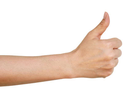Woman hand with thumb up isolated on white background Stock Photo - 27322444