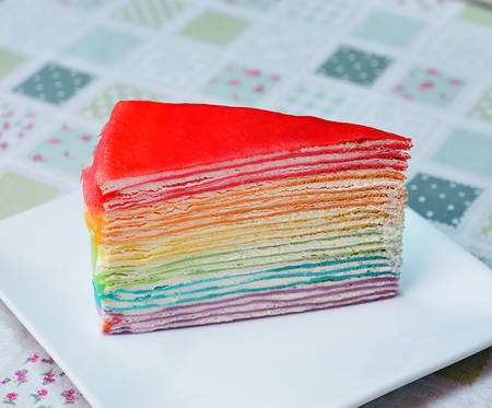 Rainbow crepe cake photo