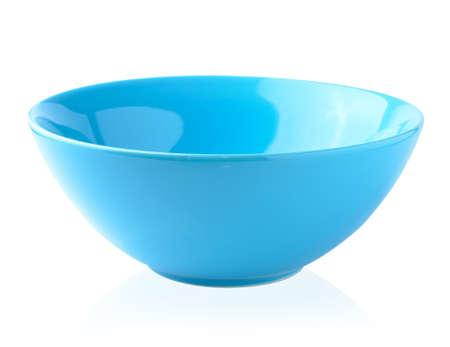 Blue bowl on the white background photo