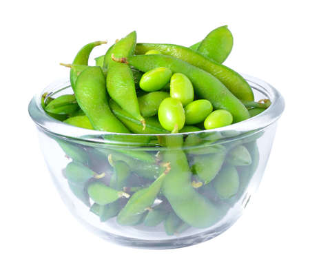Edamame soy beans shelled in glass bowl Stock Photo