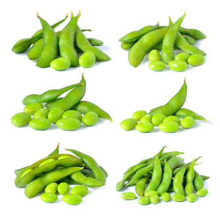 Set of green soybeans on white background photo