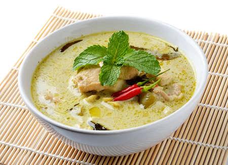 Thailand Essen Gr?nes Curry Huhn Intensive Suppe