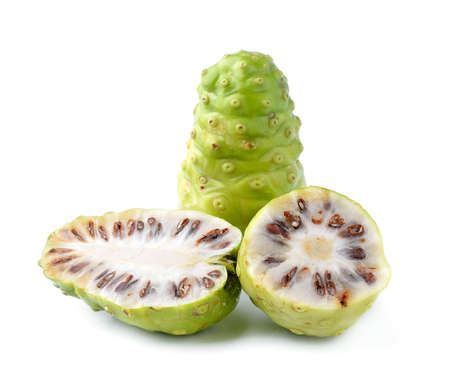 great morinda: Noni Indian Mulberry fruit on white background