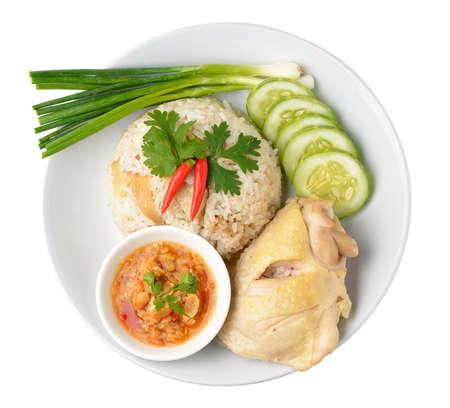Steam Chicken with Rice (Hainan Chicken) photo
