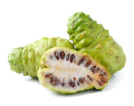 Noni Indian Mulberry fruit on white background photo