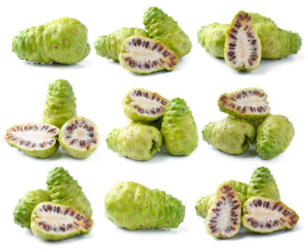 Noni Indian Mulberry fruit on white background photo