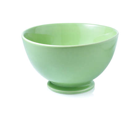 factitious: green empty bowl on a white background