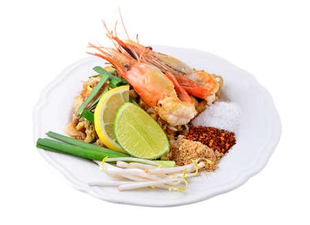 Thai-Food Pad Thai, Pfannengerichte Nudeln mit Garnelen