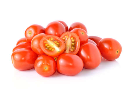 Grape or cherry tomatoes isolated on white background. photo