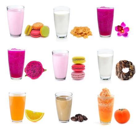 collection juice and milk isolated in white background photo