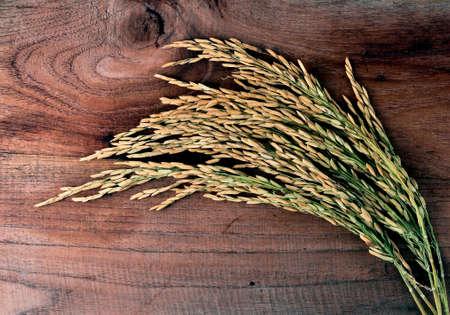 aliments: riz thai sur fond de bois