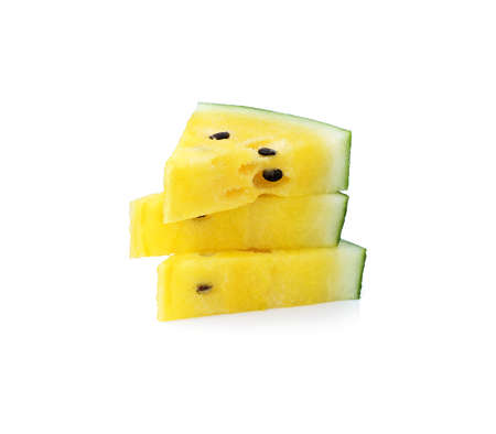 Yellow Watermelon And A Cut Slice Isolation