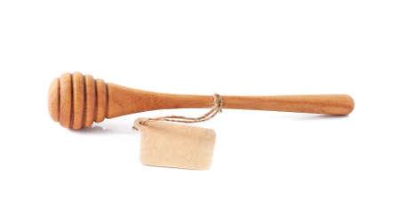 wooden honey stick isolated on white background Stock Photo
