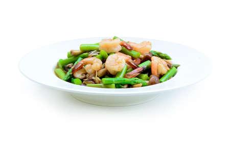 thai food , Asparagus stir fried with prawns Stock Photo