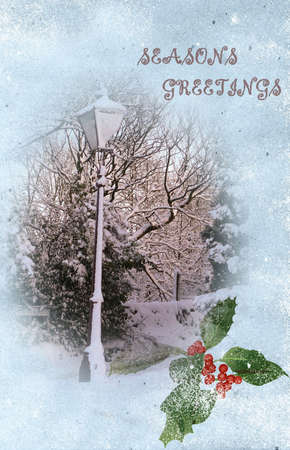 lampost: Victorian Christmas Card Image