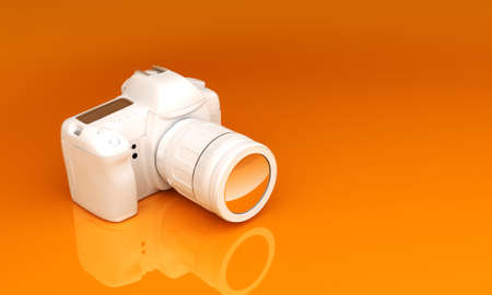 exclusive photo: White camera on an orange background. Delicious background for your text Stock Photo