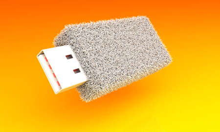 Creative furry flash. USB flash drive covered with a white fur on a yellow background.