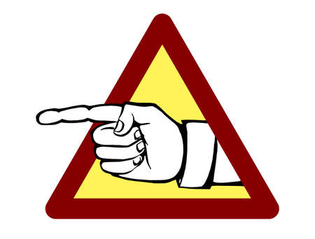 The pointer direction. Vector illustration of a index finger to get out of the triangular sign going beyond the perception Illustration