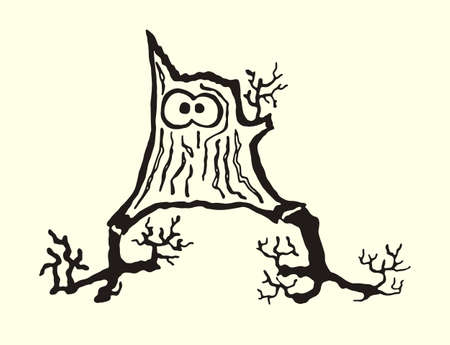 Funny character hemp. Vector illustration of silhouette funny to paint the stump with legs and eyes.