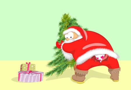 Caractère comique du Père Noël. Bent est utilisé pour mettre le sapin de Noël et il avait des pantalons déchirés. Vecteurs