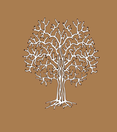 spring out: The monotonous silhouette of the tree. Vector illustration useful as a background (patterned branches) or addition to any composition.