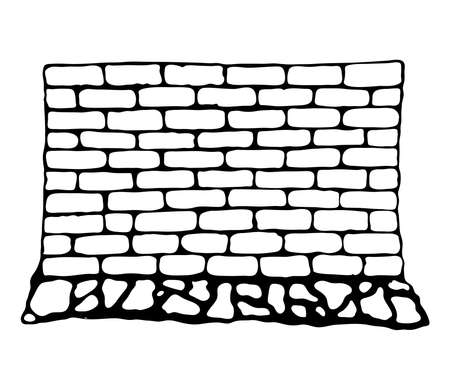 painted wall of brick and stone. Vector illustration in style of pencil drawing in black and white. Ilustração