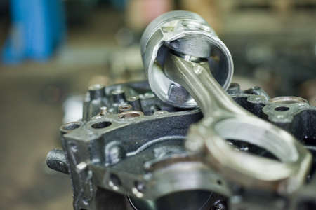 Pistons of the engine with connecting rods. Spare parts for diesel engine Stock fotó