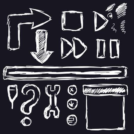 a set of buttons and symbols for the app or player Illusztráció
