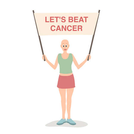 A bald woman with a poster, unite to fight cancer