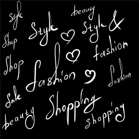 blank handwritten words related to the fashion industry, suitable for overlaying