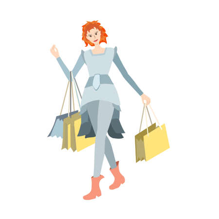 Red-haired girl goes with goods and bags of clothes