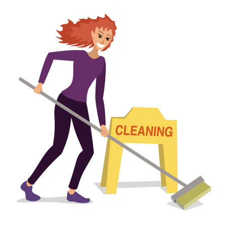 Red-haired woman does cleaning with a brush, hiring staff, business services