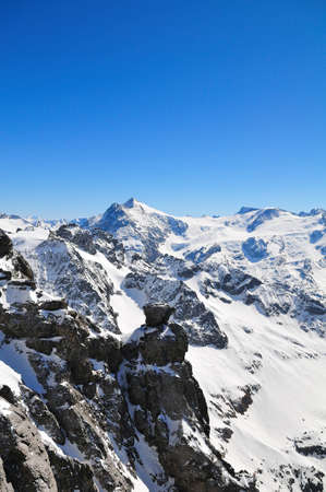 throughout: Titlis mountain in Switzerland covered with snow throughout the year Stock Photo
