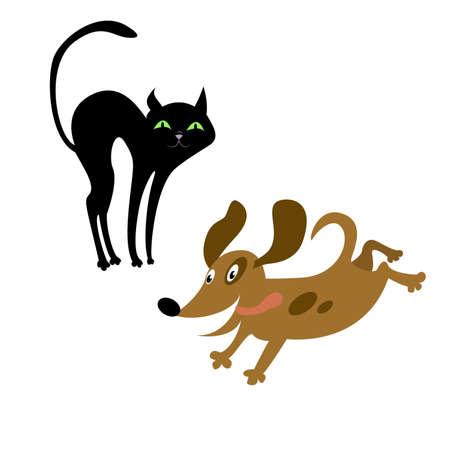 chaton en dessin anim�: Chat et chien