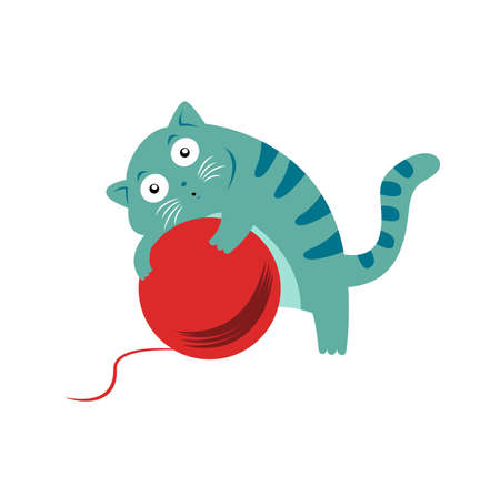 clew: Cat with clew Illustration