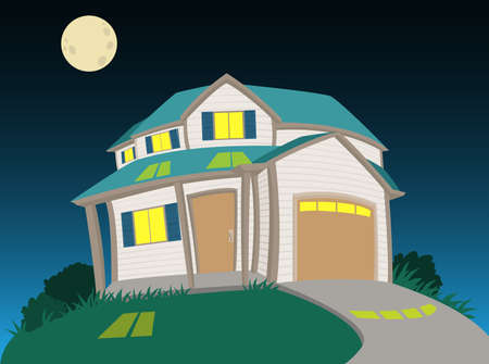 Sweet house at night Stock Vector - 17354259