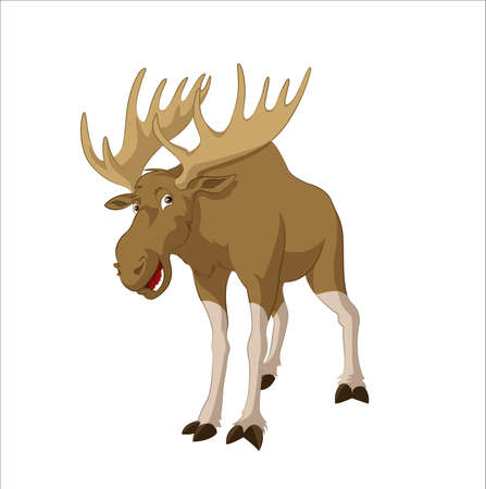 image of big funny cartoon elk Vector