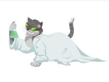 image of evil genius scientist cat Illustration