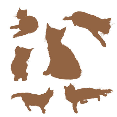 image of silhouettes of sitting cats