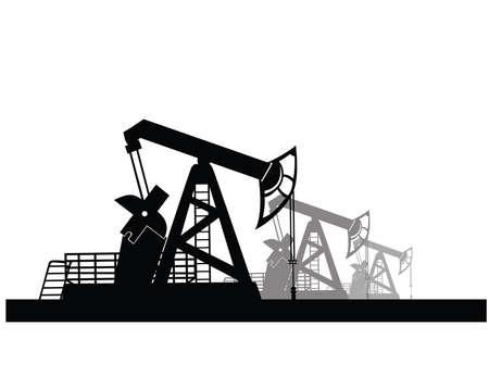 reservoir: Vector image of oil derricks on the ground