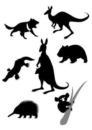australian animal: Imagen vectorial de siluetas de animales australianos Vectores