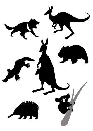 Vector image of silhouettes of australian animals Illustration